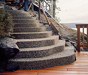 Exposed Aggregate Concrete steps with flair
